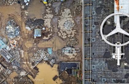 Das Bonn-Center aus der Luft waehrend des Abrisses