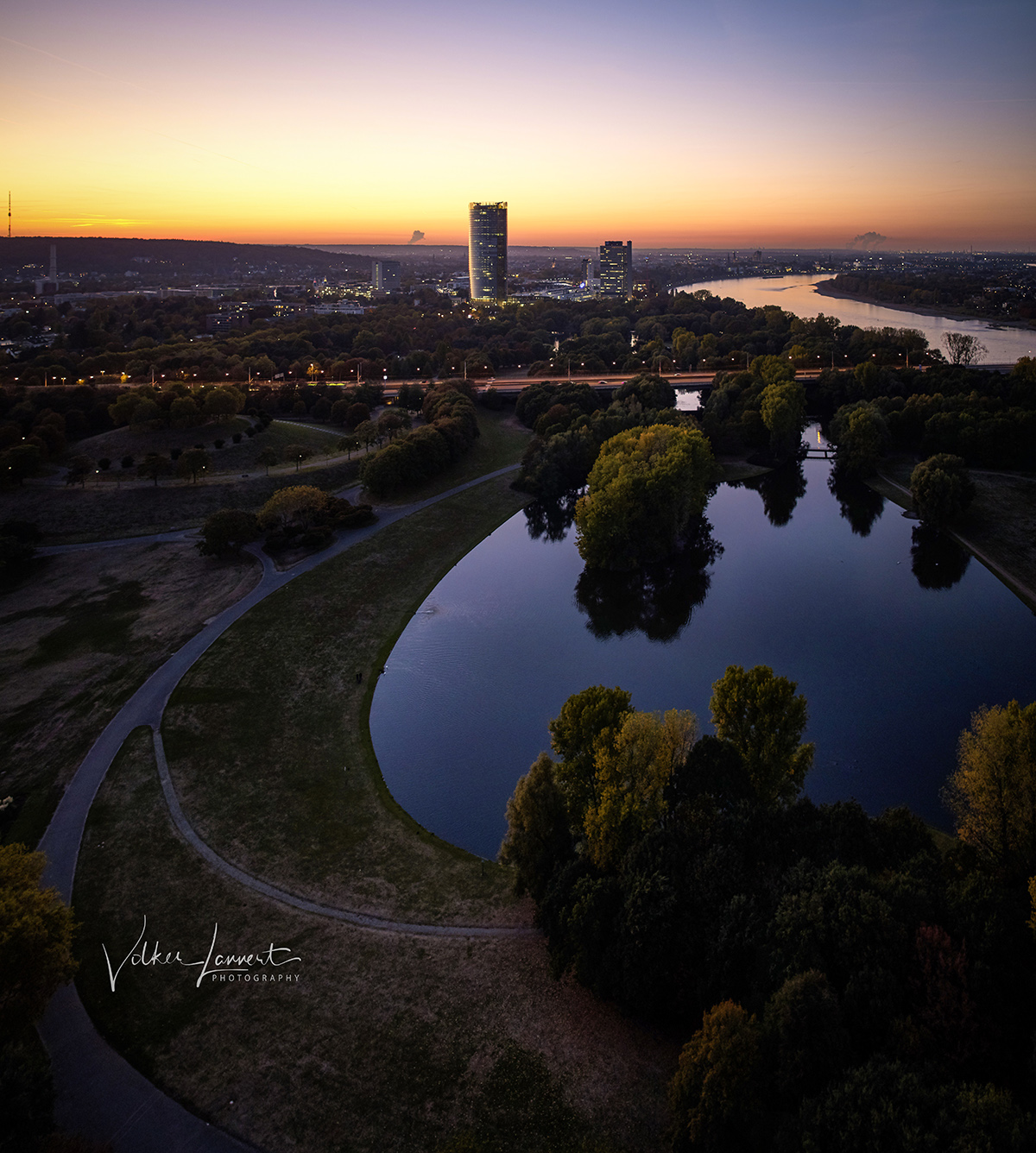 Sonnenuntergang über dem Rheinauensee am 04.10.18